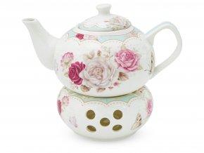 Konvice porcelán 1000ml na čajovou svíčku  ROSE