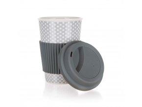 Hrnek keramika se silikonovým víčkem 400ml  GO šedý