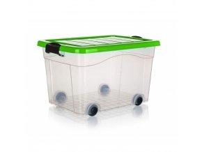 Box úložný 55x41x33cm 40L s kolečky  PYRAMIDA zelený