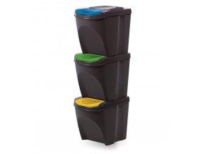 Koš odpadkový tříděný odpad 3x25L  SORTIBOX antracit