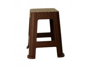 Stolička taburet  RATAN 100kg v.45cm hnědá