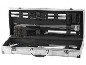 Grilovací nářadí dřevo/nerez 14ks v kufru  DELUXE