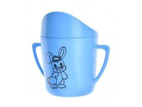 Hrnek kojenecký plast 250ml potisk modrý  CZ