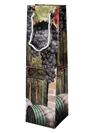 Taška dárková 35x10x10cm na víno  HROZNY/VÍNO