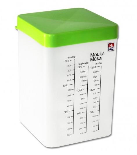 Dóza 3L čtverec krabice vysoká s odměrkou  CZ, mix barev