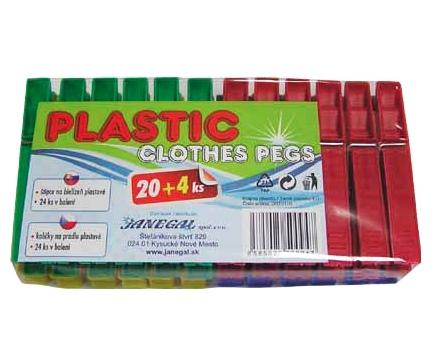 Kolíčky na prádlo 24ks plast  PLASTIC
