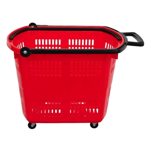 Košík nákupní do samoobsluhy na kolečkách, červený