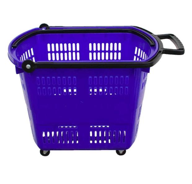 Košík nákupní do samoobsluhy na kolečkách modrý