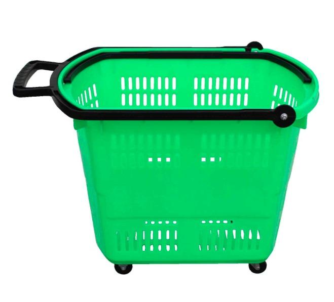 Košík nákupní do samoobsluhy na kolečkách zelený