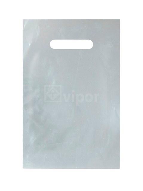 Taška igelitová 20x30cm průhmat stříbrná