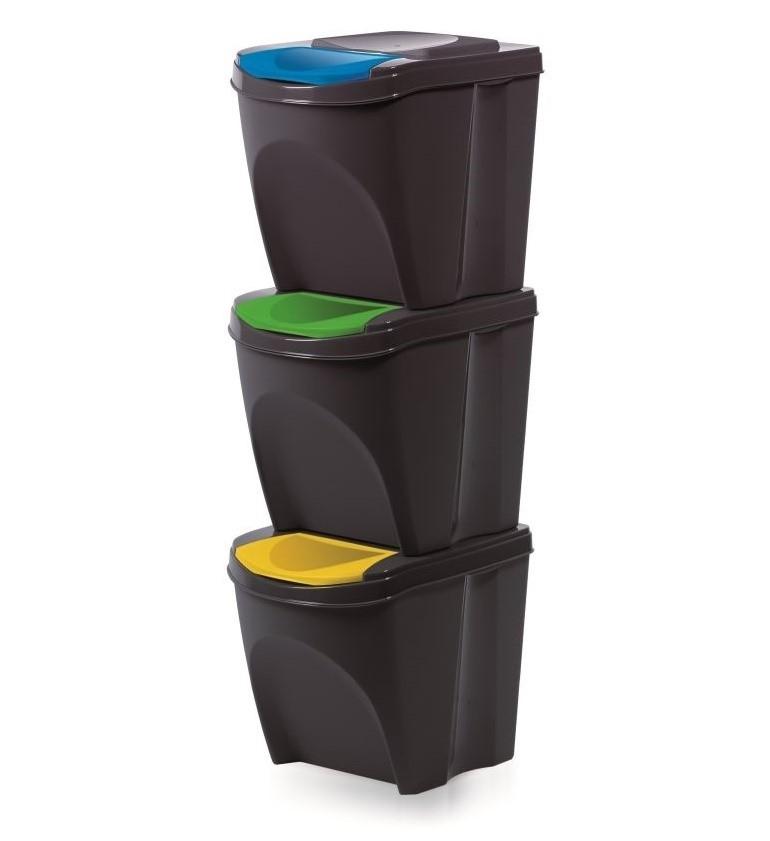 Koš odpadkový tříděný odpad 3x25L  SORTIBOX šedá