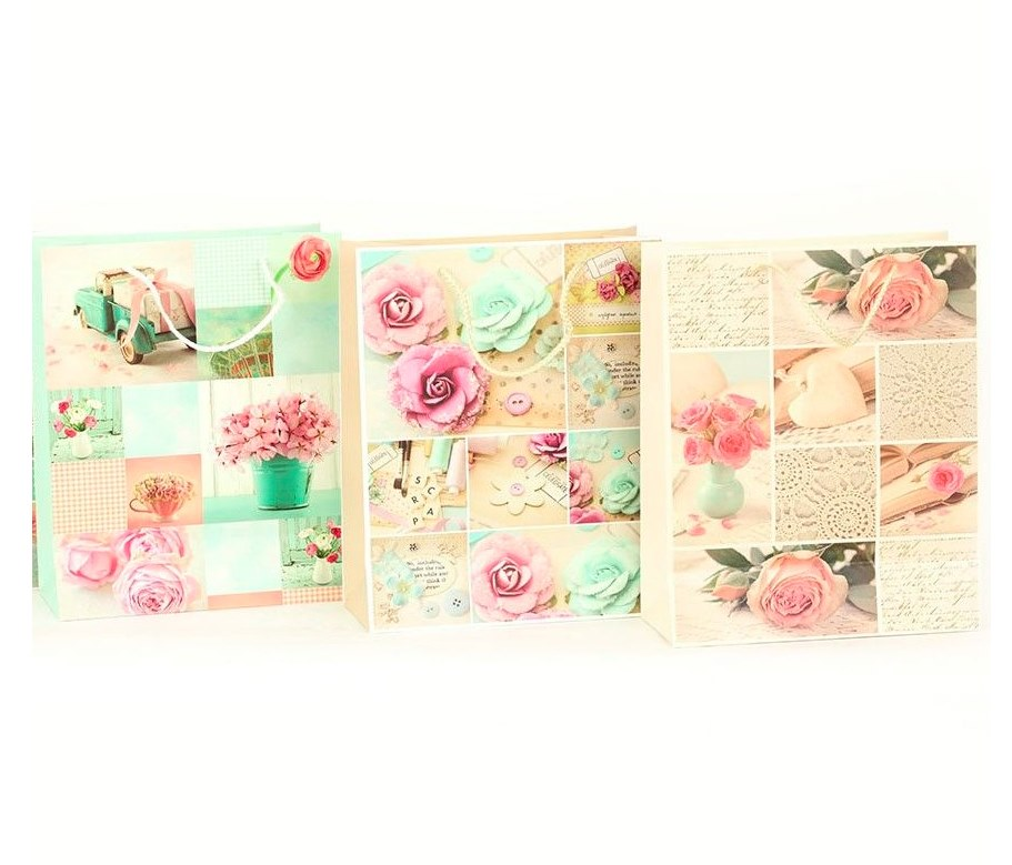 Taška dárková 14,5x15x6cm malá  ROSE, mix dekorů
