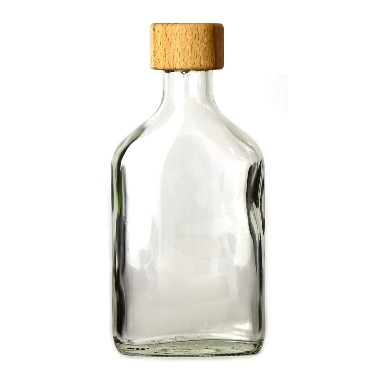 Láhev sklo  200ml PLACKA FLASK čirá s dřevěným víčkem