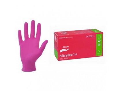 MERCATOR nitrylex®COLLAGEN / nitrylex® collagen nitrilové rukavice bezpudrové růžové