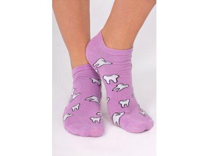 Kotníkové ponožky fialové - motiv ZUBY