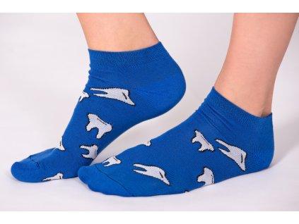 Kotníkové ponožky tmavě modré - motiv ZUBY