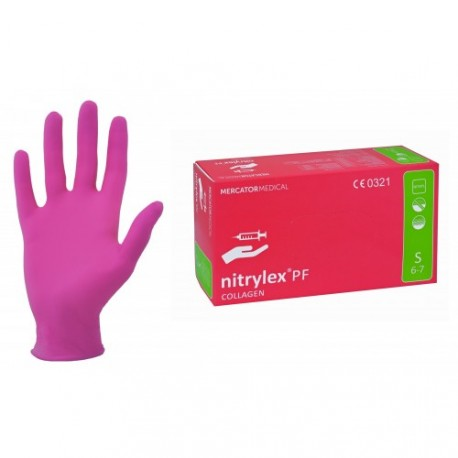 MERCATOR MEDICAL MERCATOR nitrylex®COLLAGEN / nitrylex® collagen nitrilové rukavice bezpudrové růžové Velikost: XS
