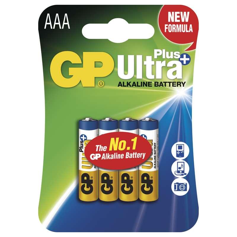 GP Batteries GP Alkalická baterie Ultra Plus LR03 (AAA) blistr Počet ks v balení: 4 ks
