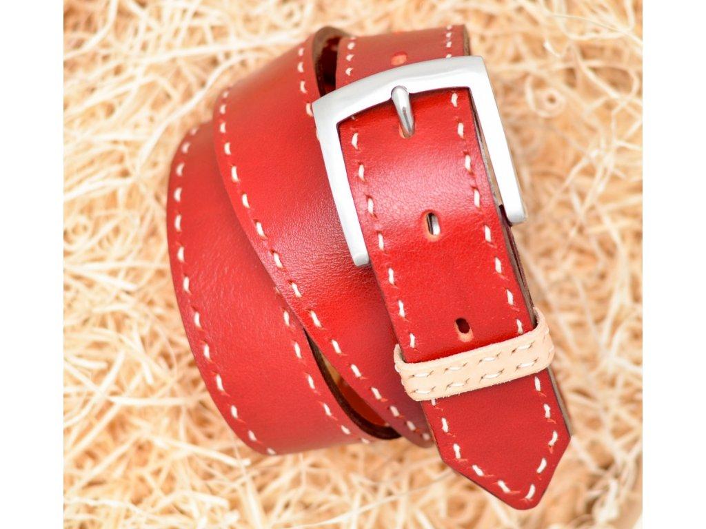 Kožený opasek RED EDITION, šíře 40mm