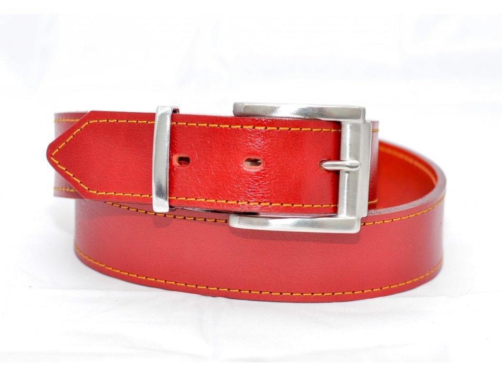 Kožený opasek RED EDITION, ocelová NEREZ spona, šíře 40mm