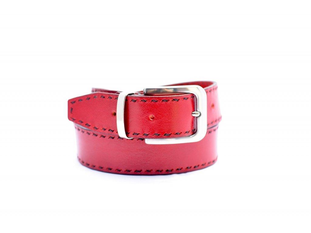 Klasický červený kožený opasek s ručním šitím a NEREZ sponou, 40mm šíře