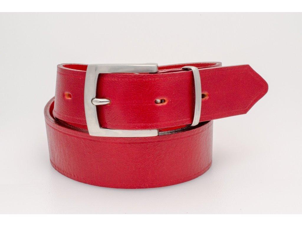 Klasický RED kožený opasek s NEREZ sponou, 40mm šíře