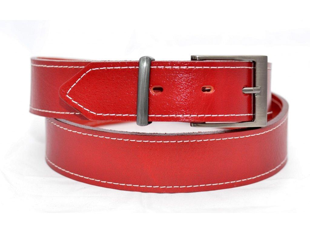 Klasický červený kožený opasek, 40mm šíře