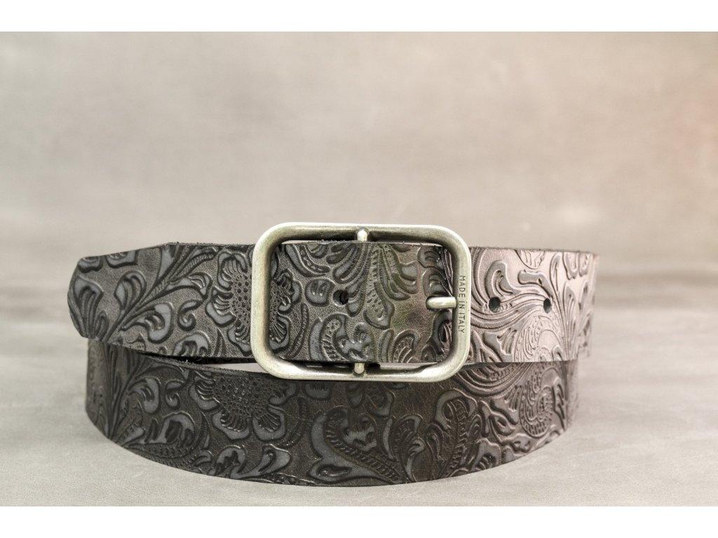 Černý kožený opasek z ornamentové kůže, šíře 40mm