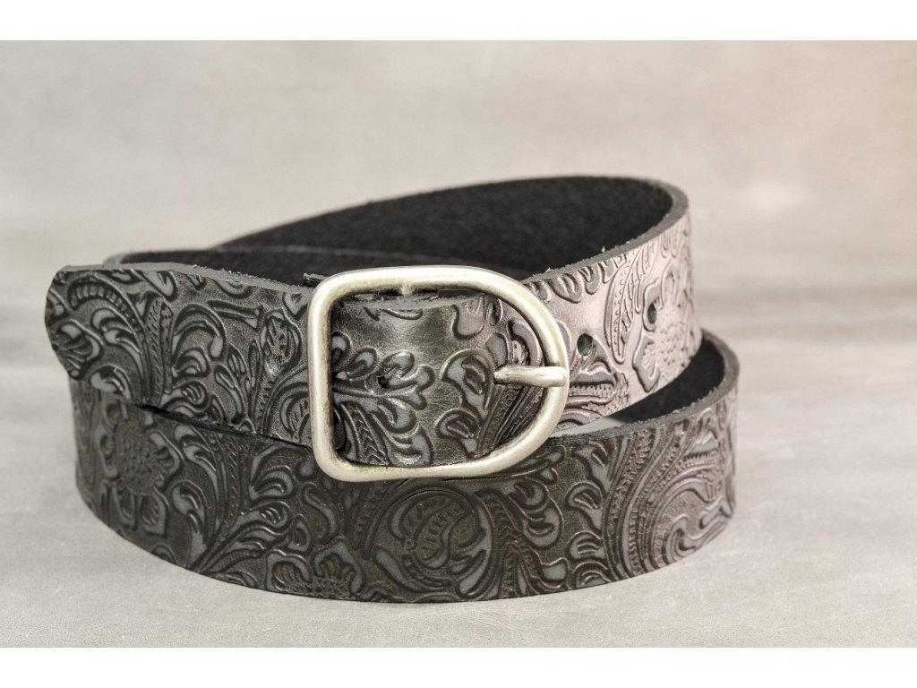 Černý kožený opasek s úpravou s ornamenty, šíře 40mm