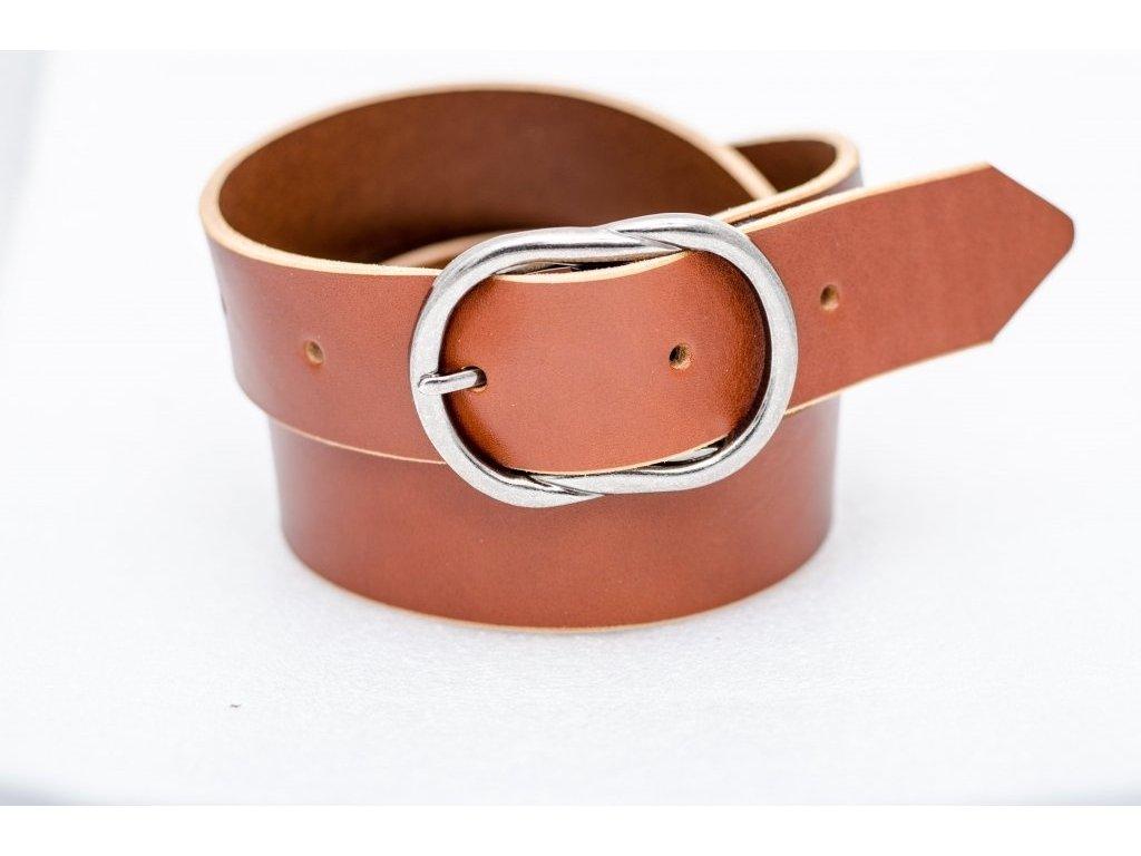 Dámský kožený opasek KOŇAKOVÉ barvy, UN úchyt pro zkrácení, šíře 40mm