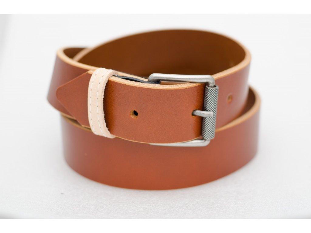 Kožený opasek KOŇAKOVÉ barvy, šíře 40mm