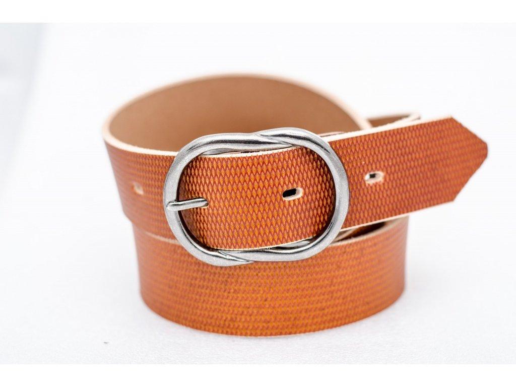 Dámský kožený opasek KOŇAKOVÉ barvy, šíře 40mm