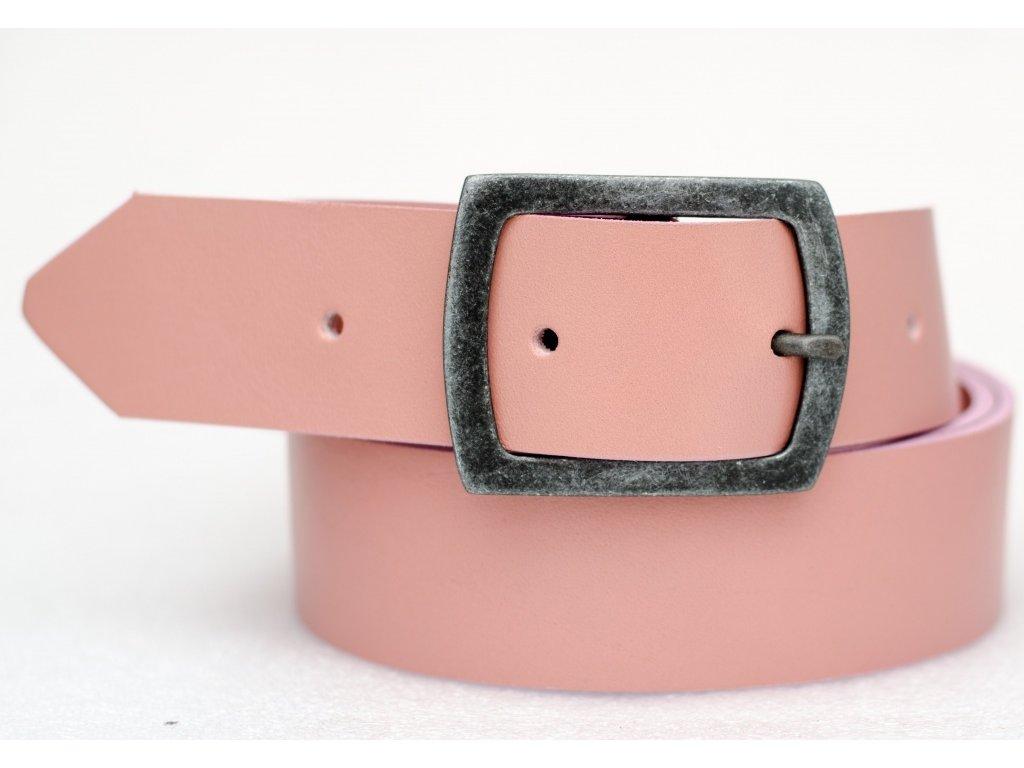 Kožený opasek PINK, šíře 40mm
