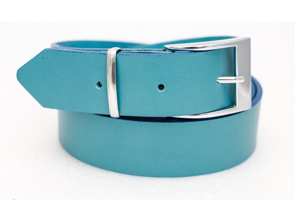 Kožený opasek BLUE, šíře 40mm
