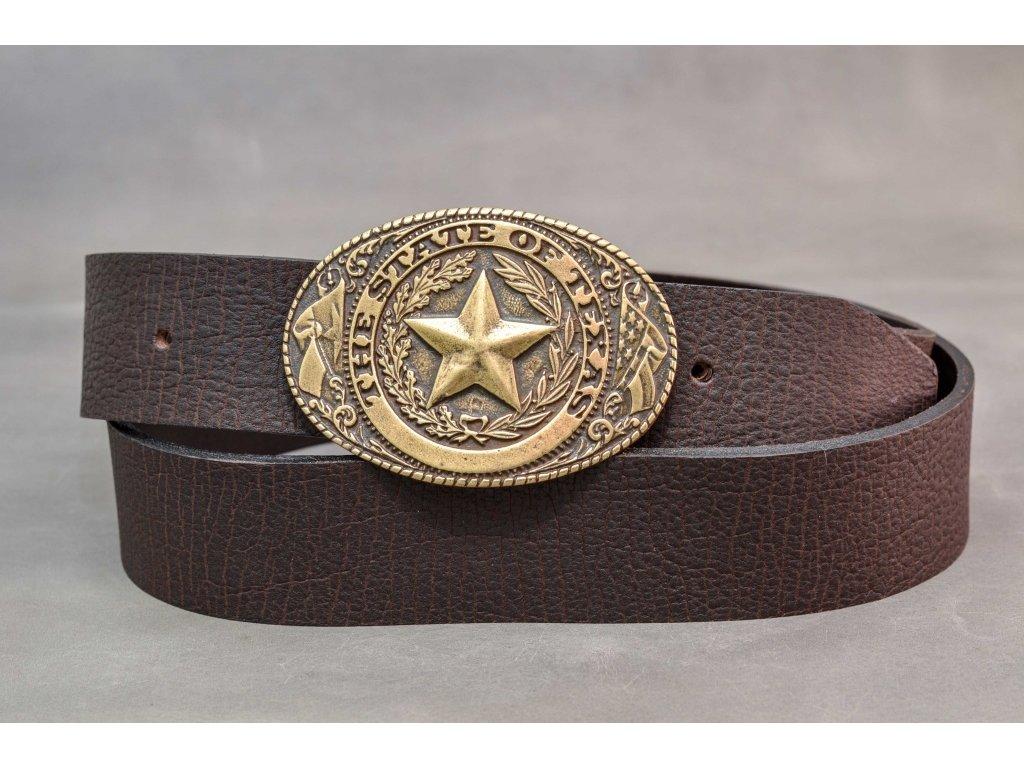 Hnědý kožený opasek, THE STATE OF TEXAS, 40mm