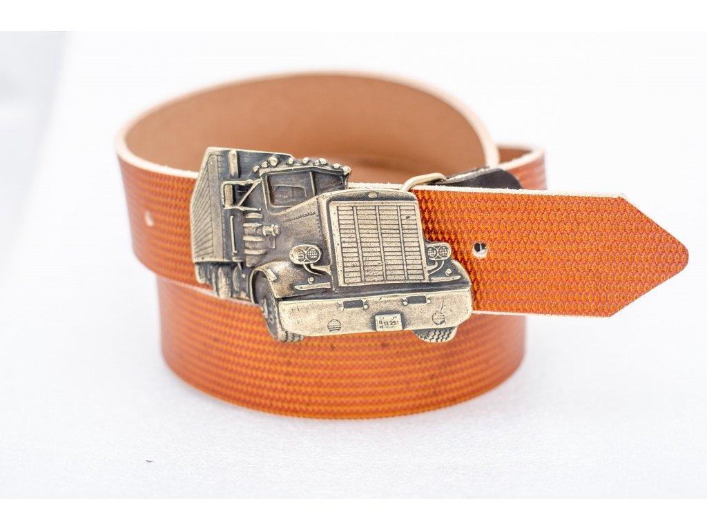 Kožený opasek KOŇAKOVÉ barvy, TRUCK, staromosazná spona, 40mm