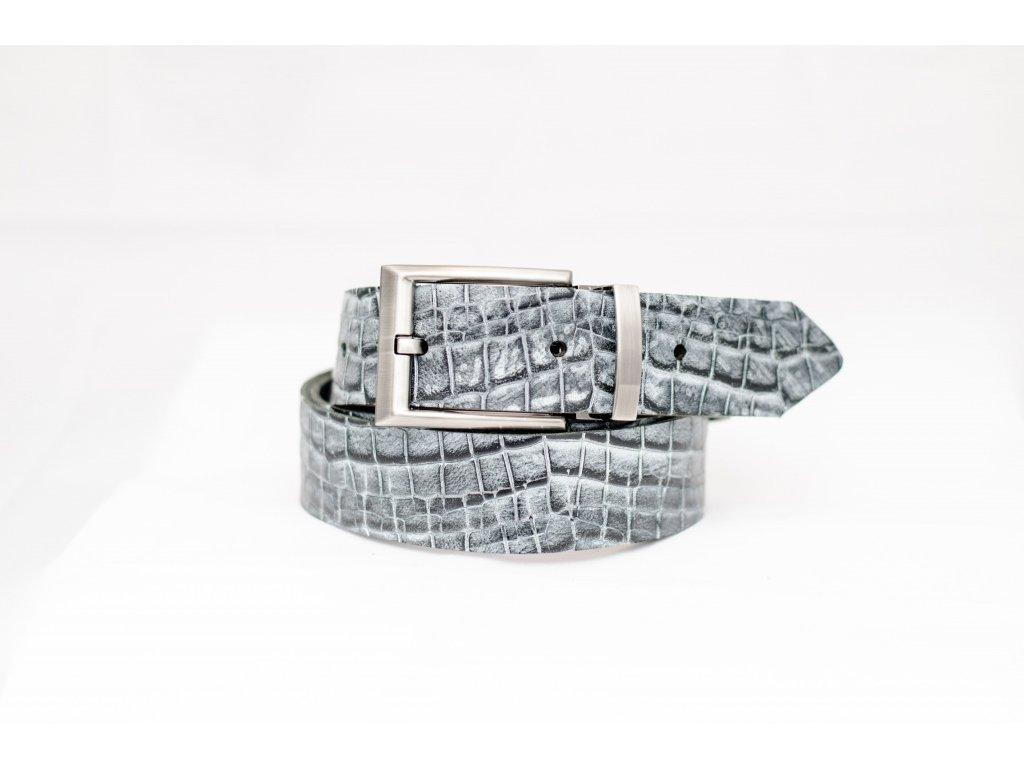 Krokodýlí kožený opasek, šíře 35mm