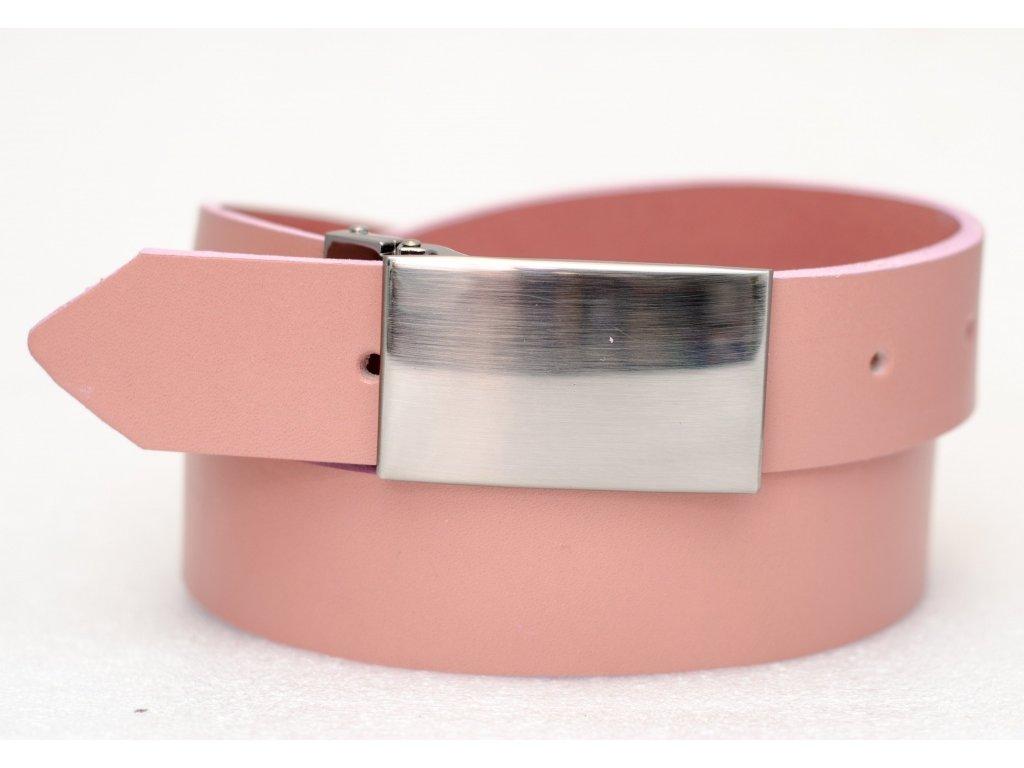 Kožený opasek PINK EDITION, rychlospona pro snadné zkrácení, šíře 35mm