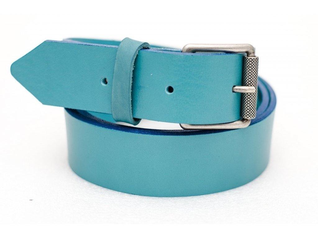 Kožený opasek BLUE, šíře 35mm