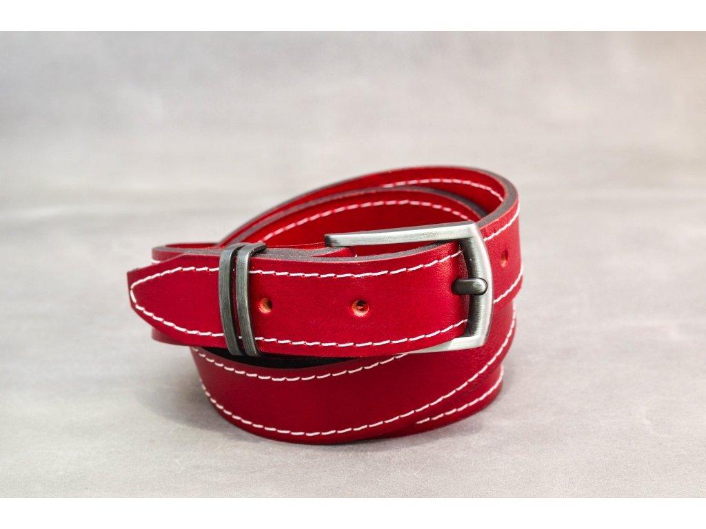Červený kožený opasek úzký se sponou STARONIKL, šíře 30mm