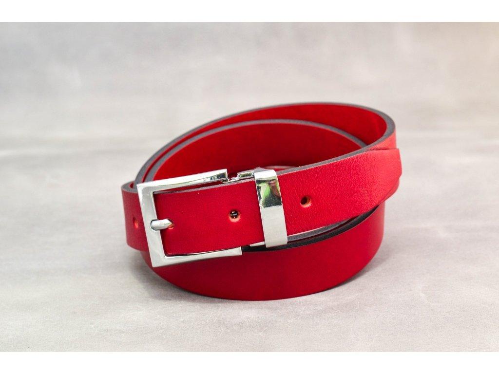 Červený opasek bez šití s chromovanou sponou, šíře 30mm