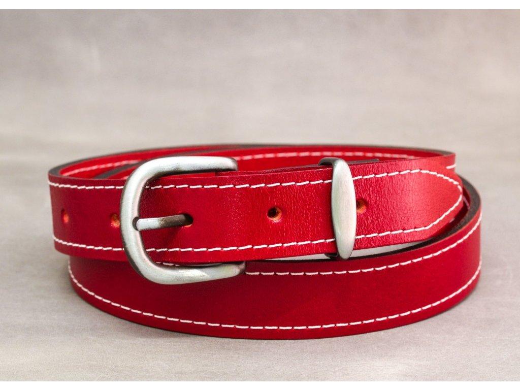 Červený kožený opasek úzký se sponou STARONIKL s bílým šitím, šíře 30mm