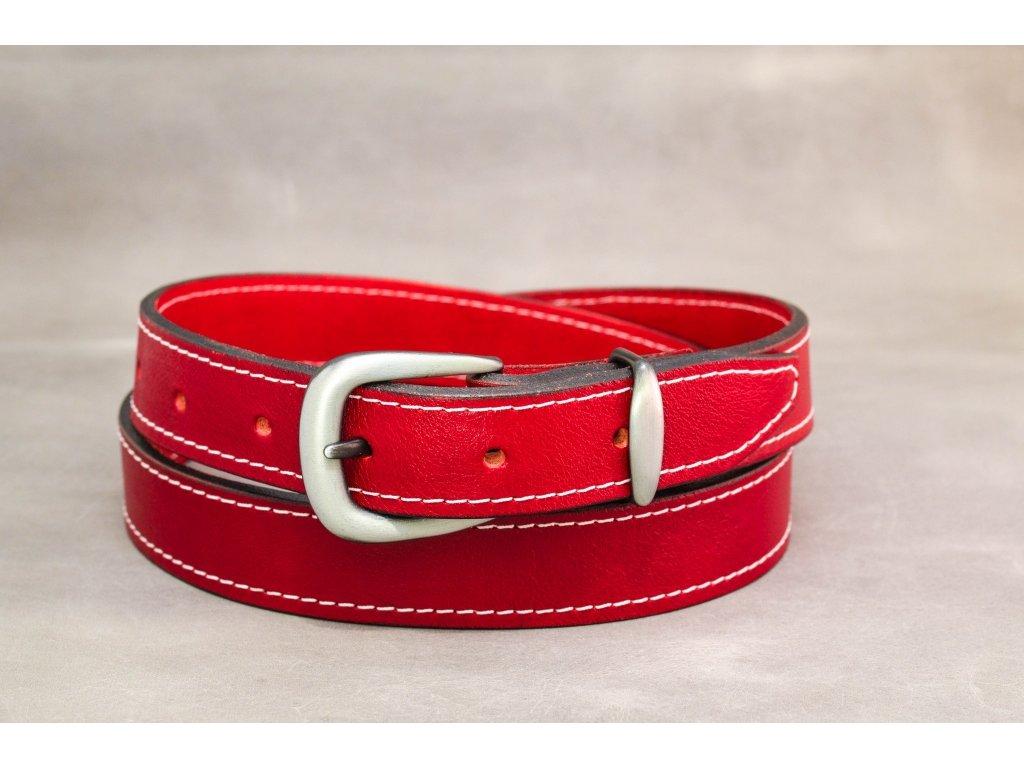 Červený opasek se sponou STARONIKL a bílým šitím, šíře 30mm