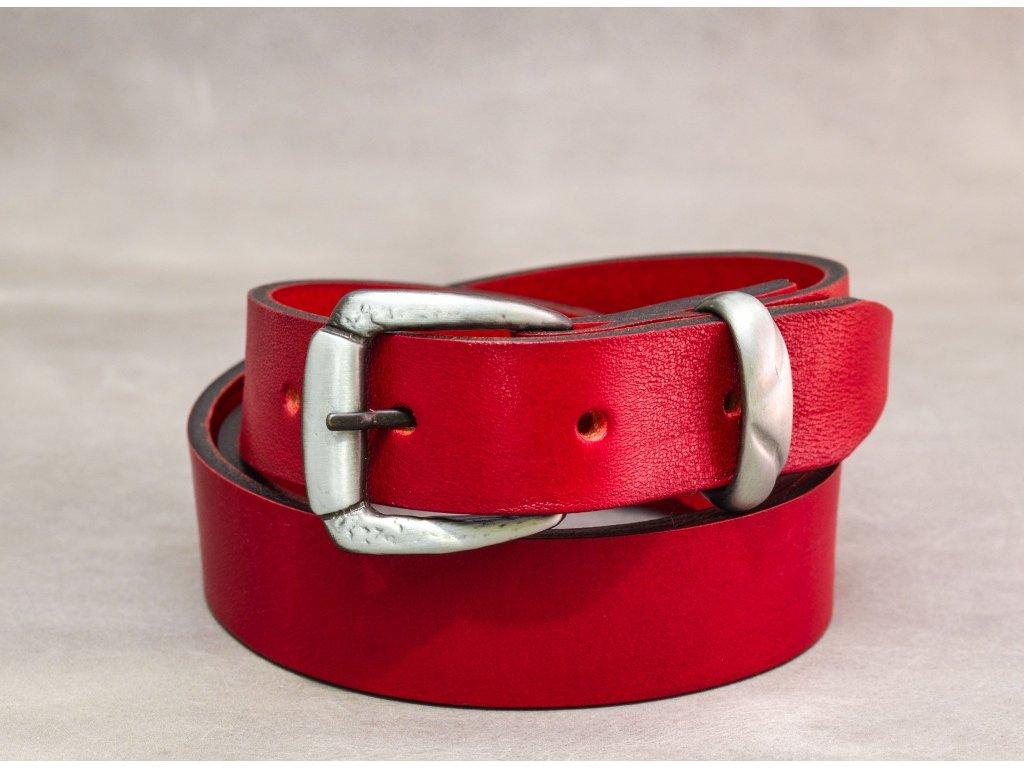 Červený kožený opasek úzký bez šití se sponou STARONIKL, šíře 30mm
