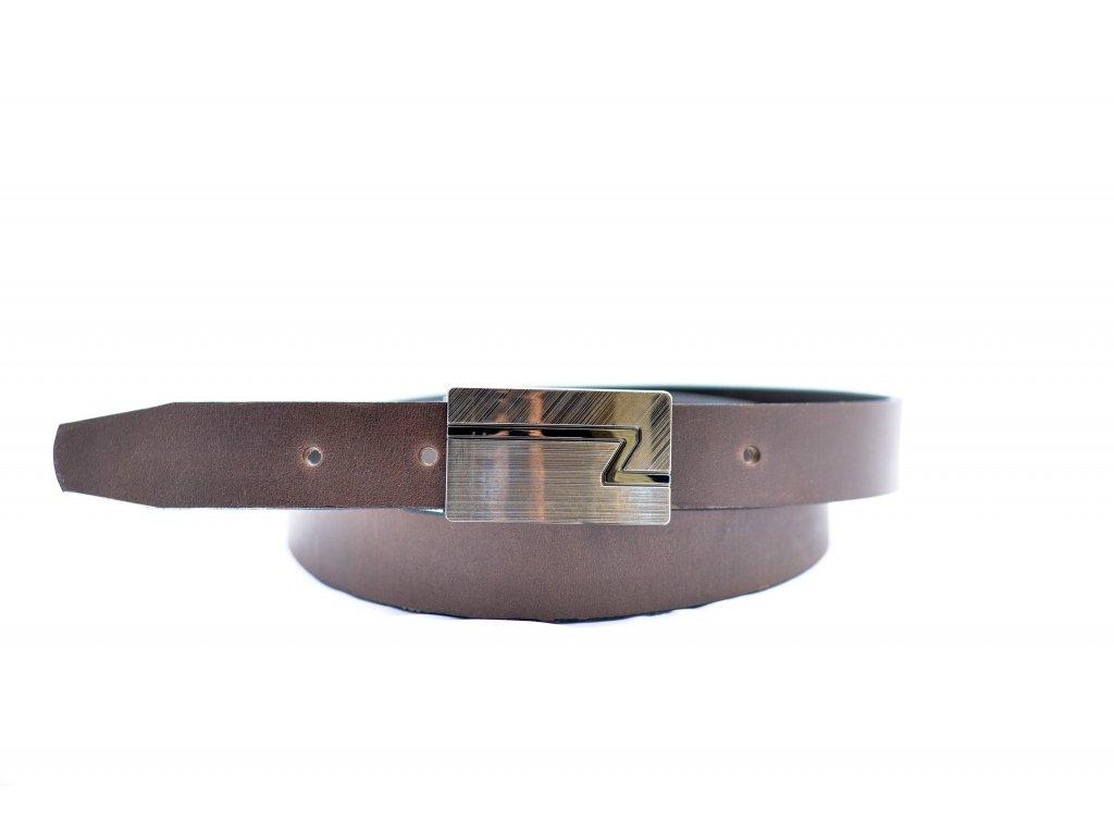 Hnědý kožený opasek do společenských kalhot, šíře 30mm