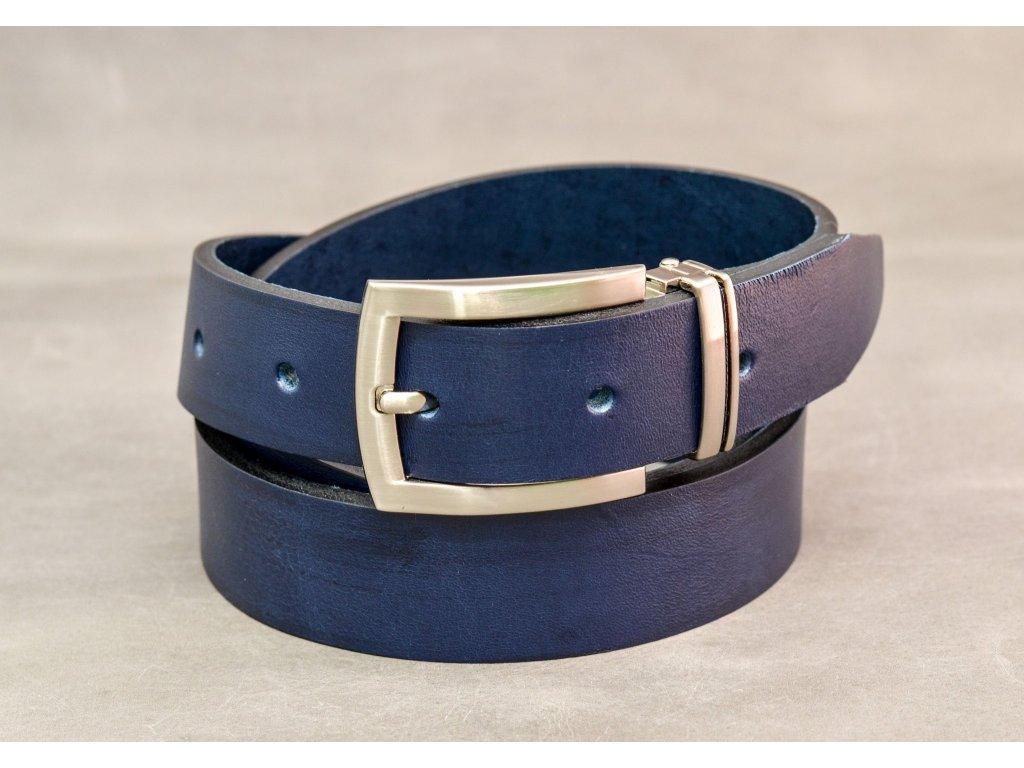 Modrý NAVY kožený opasek úzký, s chromovou sponou, šíře 30mm