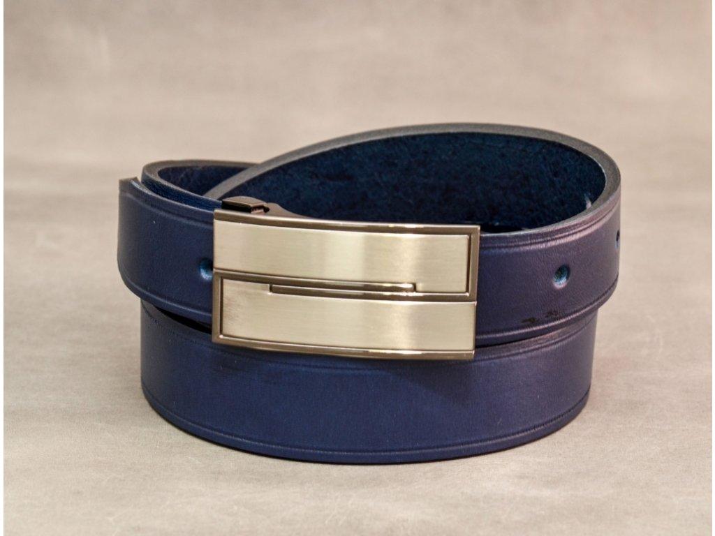 Modrý NAVY kožený opasek úzký, s rychlosponou, šíře 30mm