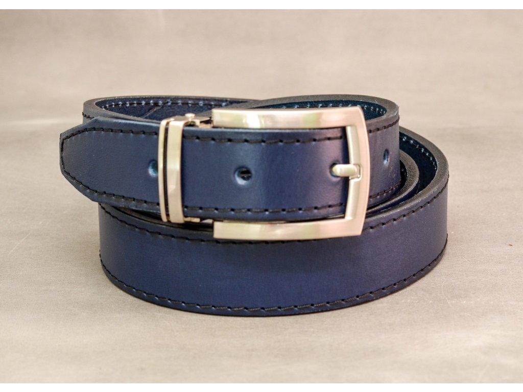 Modrý NAVY kožený opasek úzký, chromová spona, černé šití, šíře 30mm