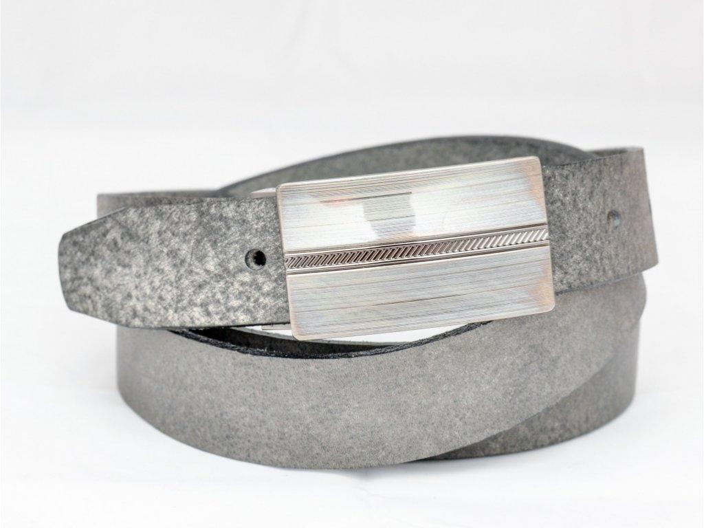 Pánský společenský kožený opasek s rychlosponou, bez šití, šíře 30mm