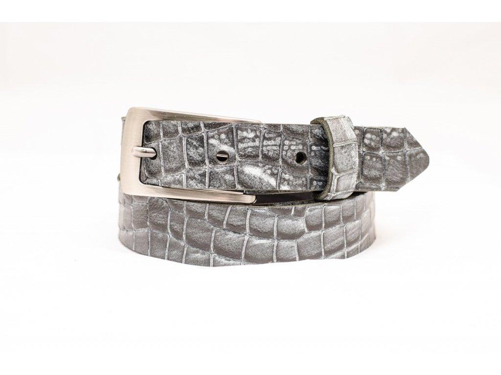 Slim kožený opasek CROCODILE Edition, 25mm šíře